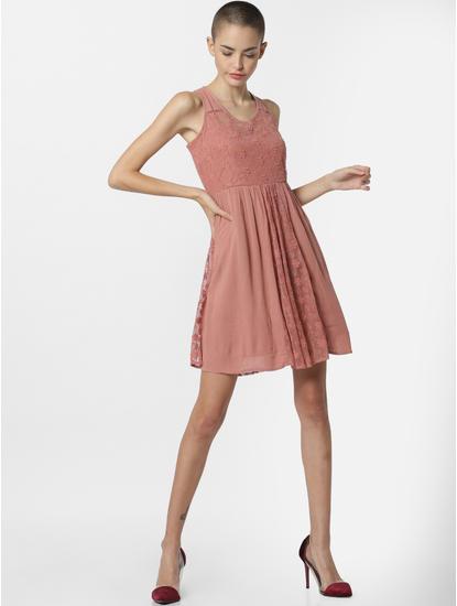 Dark Pink Lace Mini Dress