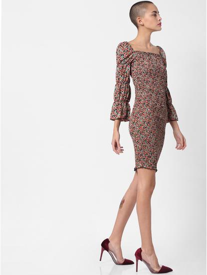 Black Floral Print Smock Bodycon Dress