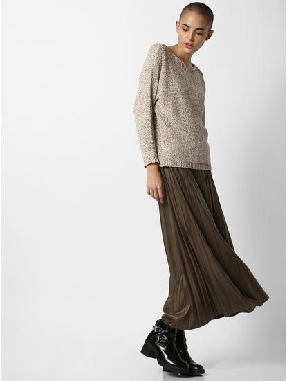 Dark Green Mid Rise Pleated Skirt