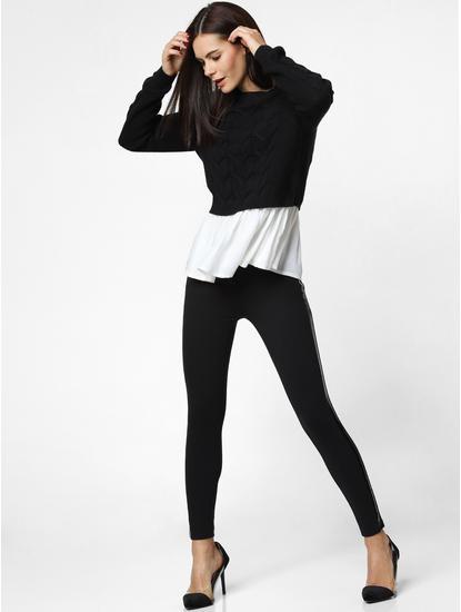 Black Shirt Insert Pullover