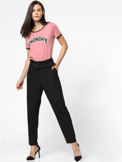 Black High Rise Belted Pants