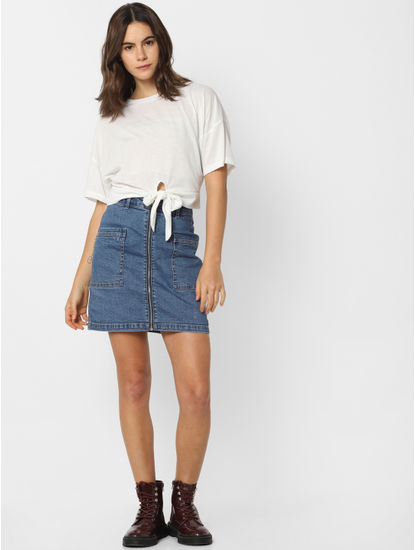 White Front Knot T-shirt