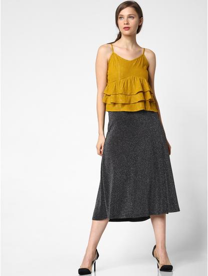 Silver Mid Rise Shimmer Midi Skirt
