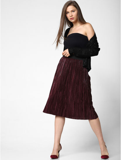 Wine High Rise Pleated Skirt
