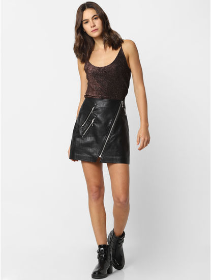 Black Mid Rise Pu Mini Skirt