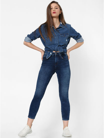 Blue Mildly Distressed Denim Shirt