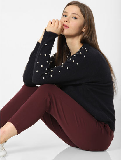 Navy Blue Pearl Embellished Pullover