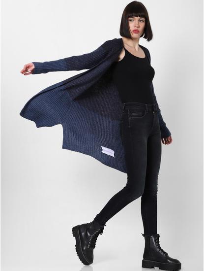 Blue Colourblocked Long Cardigan