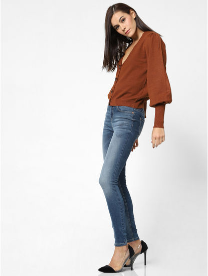 Brown Front Open Cardigan