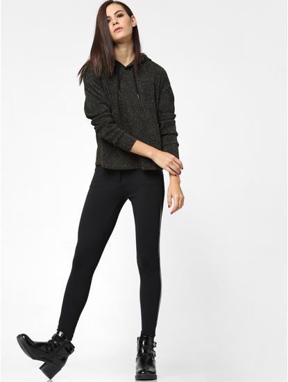 Black Shimmer Hooded Top