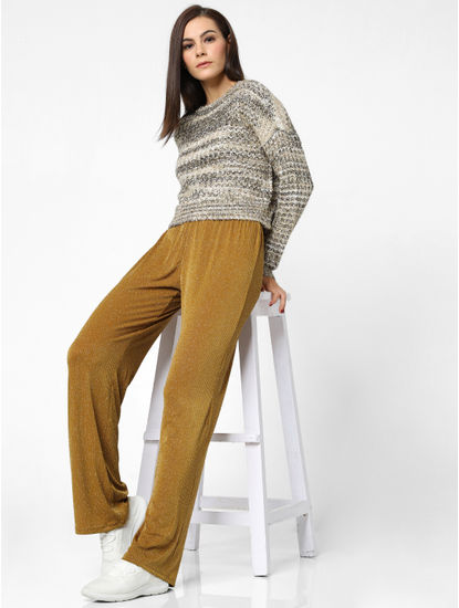 Mustard Mid Rise Shimmer Pants
