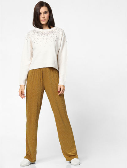 Cream Sequin Embellished Pullover