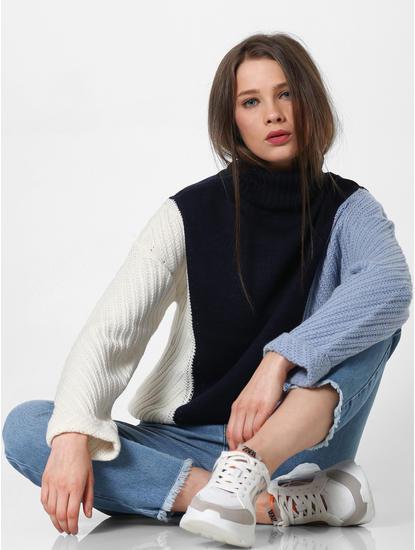 Blue Colourblocked Roll Neck Pullover