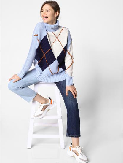 Blue Colourblocked Plaid Print Pullover