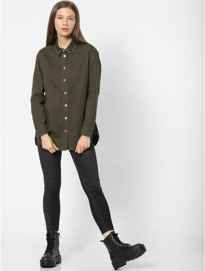 Dark Green Stud Detail Shirt