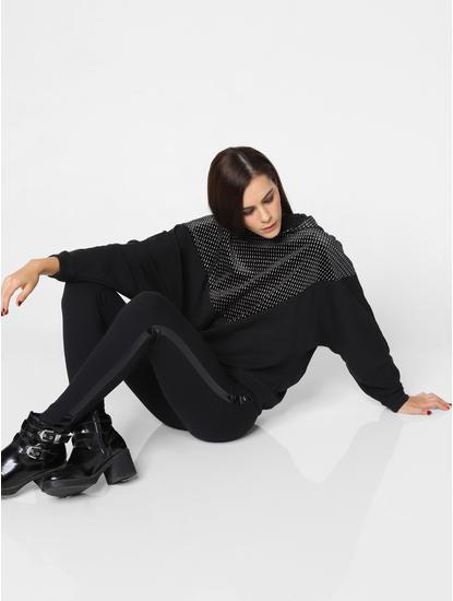 Black Embellished Hooded Sweatshirt