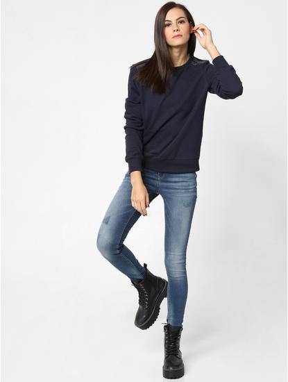 Black Shoulder Embellished Sweatshirt