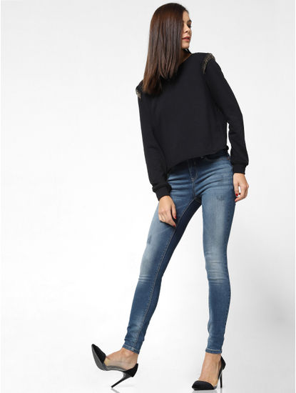 Black Raw Edge Sweatshirt