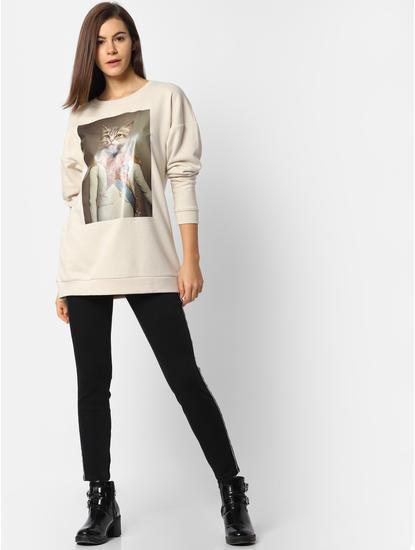 Cream Cat Print Sweatshirt