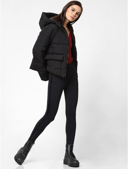 Navy Blue Hooded Puffer Jacket