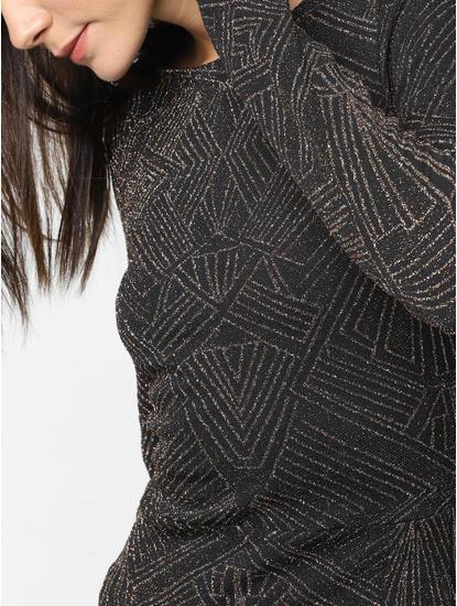 Black Shimmer Slit Maxi Dress