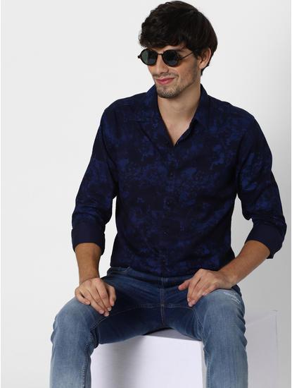 Blue All Over Print Full Sleeves Shirt