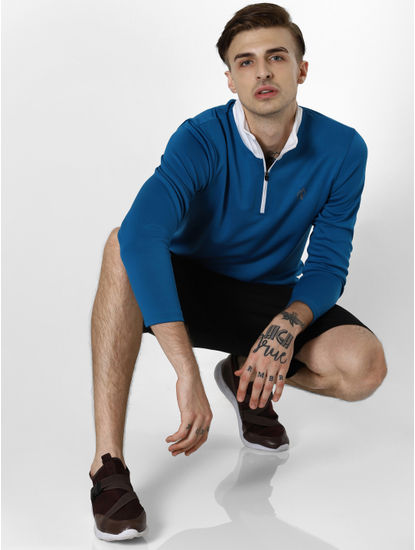Blue Contrast Zip Up Neck Jacket