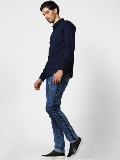 Blue Tape Detail Acid Washed Skinny Jeans