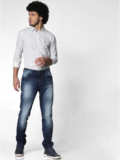Dark Blue Mid Rise Slim Fit Jeans