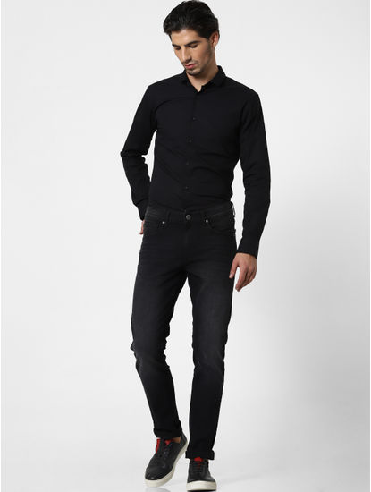 Charcoal Grey Mid Rise Skinny Fit Jeans