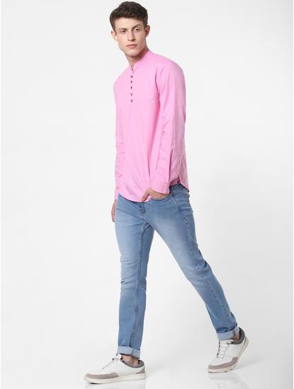 Pink Mandarin Collar Full Sleeves Shirt