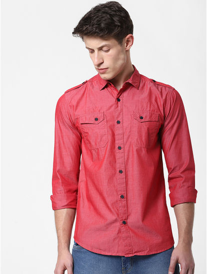 Red Washed Full Sleeves Shirt