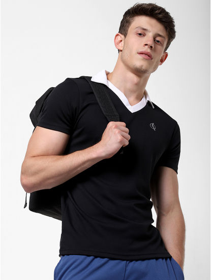 Black Contrast Tipping V Neck T-Shirt