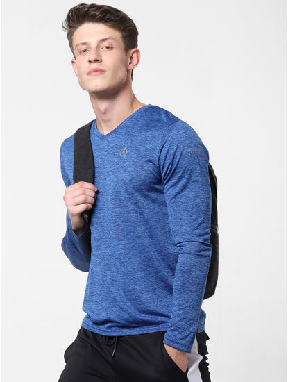 Dark Blue Printed V Neck T-Shirt