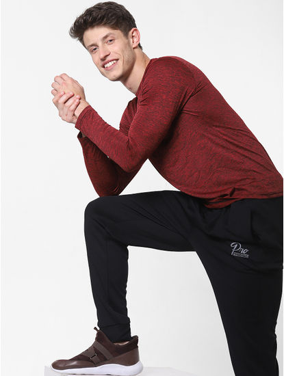 Maroon Printed Crew Neck T-Shirt