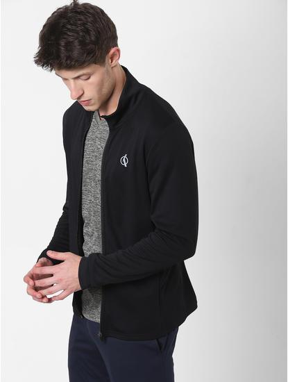 Black High Neck Zip-Up Jacket