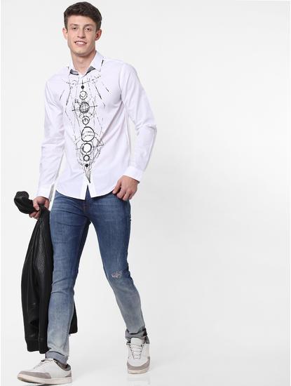 White Geometric Print Full Sleeves Shirt