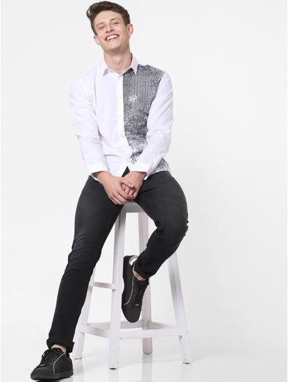 White Abstract Print Full Sleeves Shirt