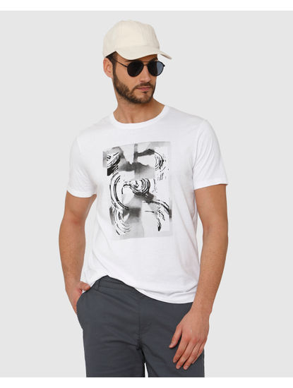 White Abstract Graphic Chest Print Crew Neck T-Shirt