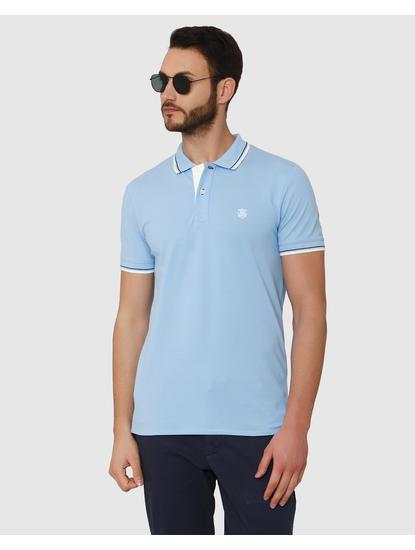 Light Blue Contrast Tipping Crew Neck T-Shirt