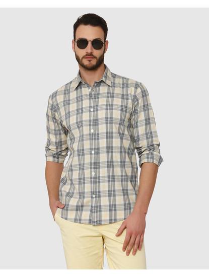 Yellow Check Slim Fit Full Sleeves Shirt