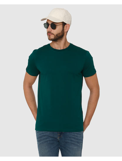 Green Side Tape Detail Crew Neck T-Shirt