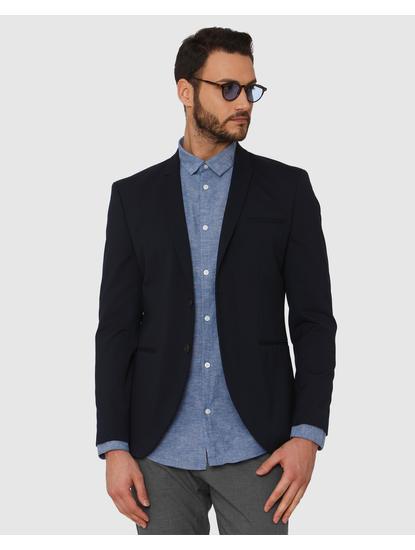 Blue Faded Linen Slim Fit Full Sleeves Shirt