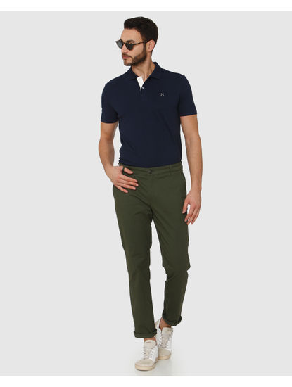 Green Straight Fit Chinos
