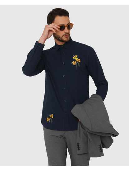 Blue Floral Embroidered Full Sleeves Shirt