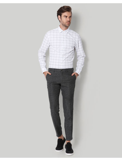 Black Check Formal Trousers