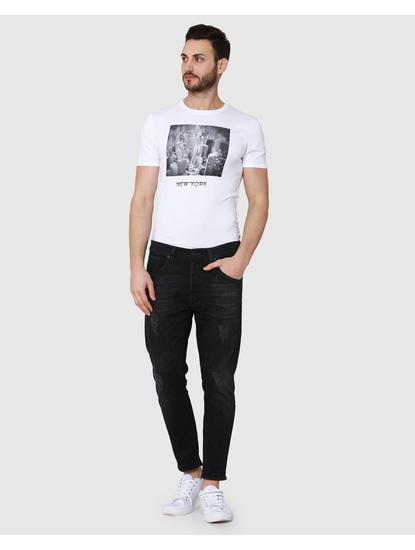 Black Distressed Regular Fit Jeans