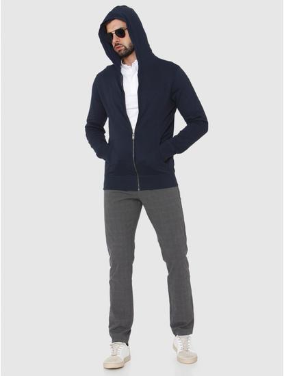 Navy Blue Hooded Sweat Jacket