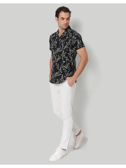 Black floral print Short Sleeves Shirt