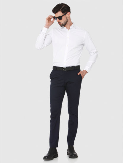 Navy Blue Slim Fit Formal Trousers